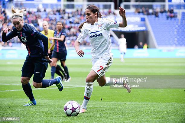 Amel Majri of Lyon and Lisa Dahlkvist of PSG during the UEFA women's Champions League semifinal match between Olympique Lyonnais and Paris...