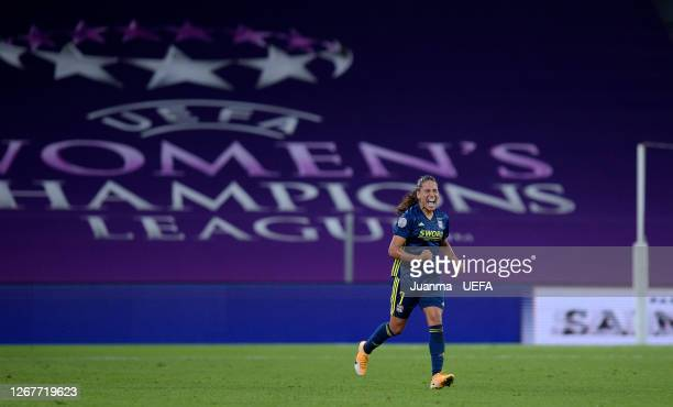 Amel Majri of Olympique Lyon celebrates after scoring her team's second goal during the UEFA Women's Champions League Quarter Final match between...