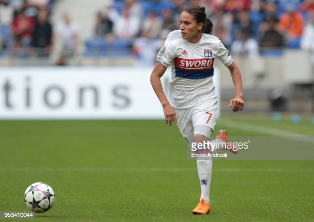 Amel Majri of Olympique Lyonnais in action during the UEFA Women's Champions League Semi Final Second Leg match between Olympique Lyonnais and...