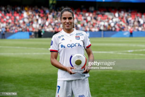 Amel Majri of Olympique Lyonnais is MVP of the Trophee des Championnes match between Olympique Lyonnais and Paris SaintGermain at Stade du Roudourou...