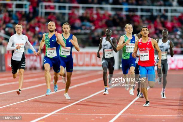 Amel Tuka of Bosnia and Herzegovina and Ryan Sanchez of Puerto Rico compete in man's 800m during Stockholm 2019 Diamond League at Stockholms...