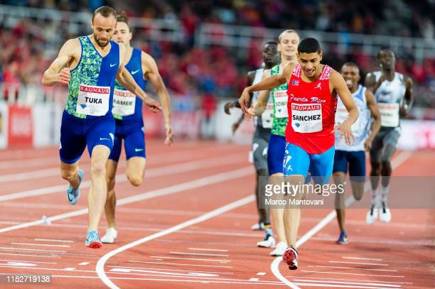 Amel Tuka of Bosnia and Herzegovina and Ryan Sanchez of Puerto Rico compete in men's 800m during Stockholm 2019 Diamond League at Stockholms...