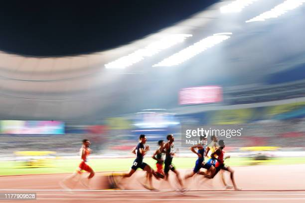 Amel Tuka of Bosnia and Herzegovina, Brandon Mcbride of Canada and Bryce Hoppel of the United States compete in the Men's 800 Metres heats during day...