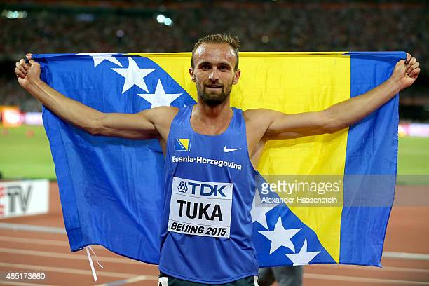 Amel Tuka of Bosnia and Herzegovina celebrates after winning bronze in the Men's Long Jump final during day four of the 15th IAAF World Athletics...