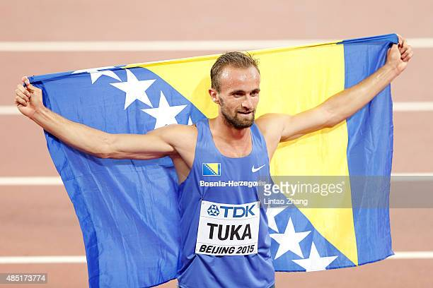 Amel Tuka of Bosnia and Herzegovina celebrates after winning bronze in the Men's 800 metres final during day four of the 15th IAAF World Athletics...