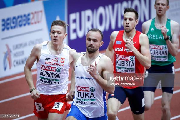 Amel Tuka of Bosnia and Herzegovina competes in the Men's 800 metres heats on day one of the 2017 European Athletics Indoor Championships at the...