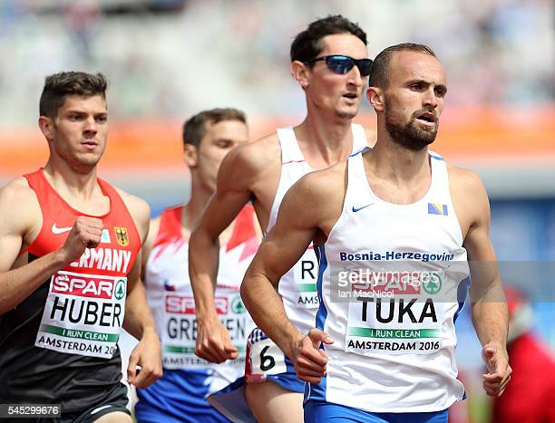 Amel Tuka of Bosnia and Herzegovina in action during his 800m heat on day two of The 23rd European Athletics Championships at Olympic Stadium on July...