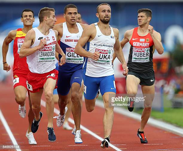 Amel Tuka of Bosnia and Herzegovina leads the field during the semi final of the mens 800m on day three of The 23rd European Athletics Championships...