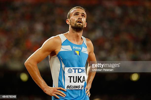 Amel Tuka of Bosnia and Herzegovina looks to the scoreboard after competing in the Men's 800 metres Semi final during day two of the 15th IAAF World...