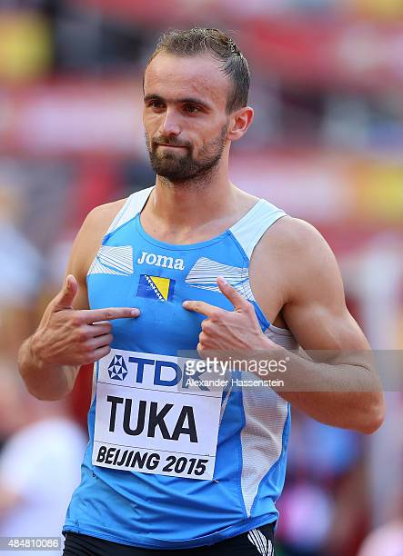 Amel Tuka of Bosnia and Herzegovina reacts after crossing the finish line in the Men's 800 metres heats during day one of the 15th IAAF World...