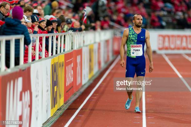 Amel Tuka of Bosnia and Herzegovina takes a lap of honour after winning in men's 800m during Stockholm 2019 Diamond League at Stockholms...