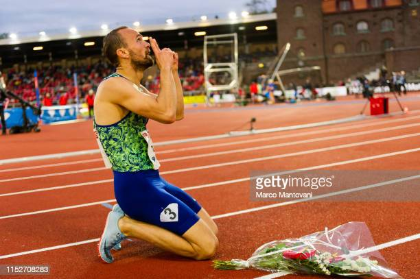 Amel Tuka of Bosnia Erzegovina celebrates after winning men's 800m during Stockholm 2019 Diamond League at Stockholms Olympiastadion on May 30 2019...