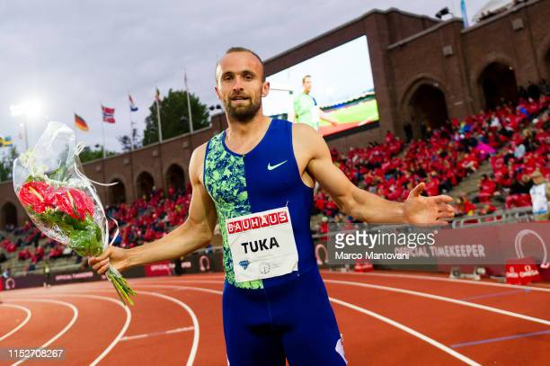 Amel Tuka of Bosnia Erzegovina poses after winning men's 800m during Stockholm 2019 Diamond League at Stockholms Olympiastadion on May 30 2019 in...