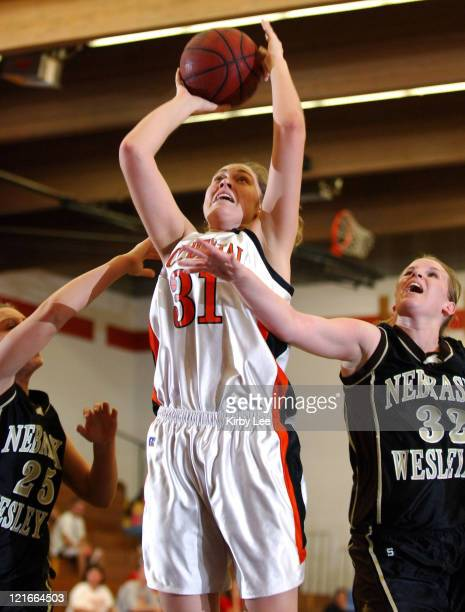 Amelia Abernathy of Occidental College shoots during the nonconference women's basketball game between Nebraska Wesleyan and Occidental at Occidental...