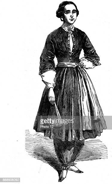 Amelia Bloomer American feminist and champion of dress reform wearing her new dress for women This was the original from which Rational cycling dress...