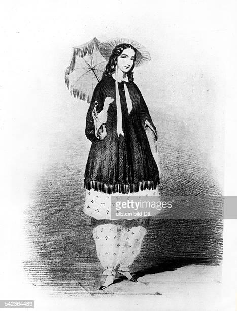 Amelia Bloomer in der von ihr kreierten Hosenmode 'Bloomers'