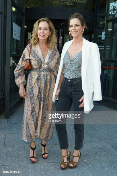 Amelia Bono and Ana Rodriguez attend the Pablo Lopez concert photocall at Royal Theatre on July 28 2018 in Madrid Spain