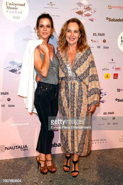 Amelia Bono and Ana Rodriguez attend the Pablo Lopez concert photocall at Royal Theatre during Universal Music Festival on July 28 2018 in Madrid...
