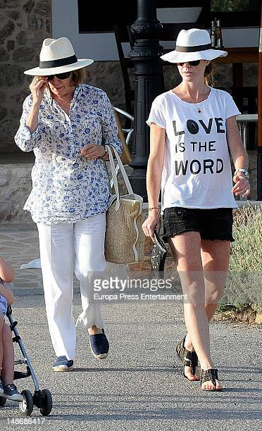 Amelia Bono and her motherinlaw Natalia Figueroa are seen on July 18 2012 in Ibiza Spain