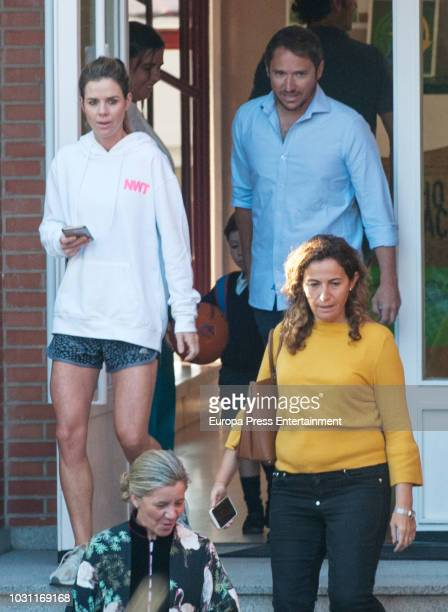 Amelia Bono and Manuel Martos leave the 'Santa Maria de los Rosales' school on the first day of school of Princess Leonor and Princess Sofia on...
