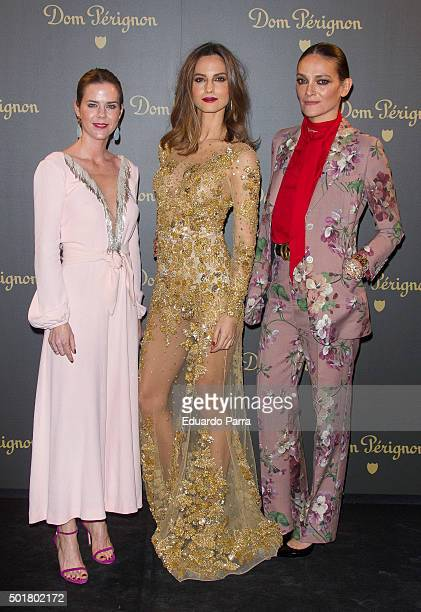 Amelia Bono model Ariadne Artiles and model Laura Ponte attend Dom Perignon Vintage party photocall at Ortega Gasset 28 on December 17 2015 in Madrid...
