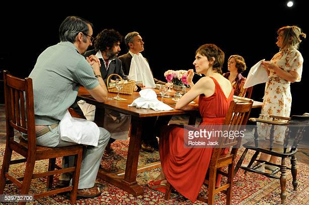 Amelia Bullmore Jessica Hynes Amanda Root Stephen Mangan Ben Miles and Paul Ritter perform in Alan Ayckbourn's play 'Table Manners' which is part of...