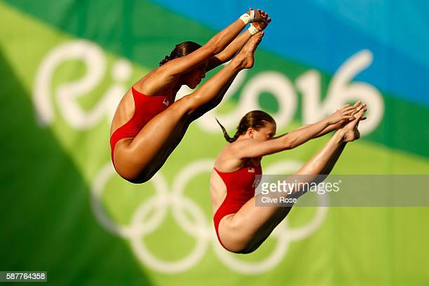 Amelia Cozad and Jessica Parratto of the United States compete in the Women's Diving Synchronised 10m Platform Final on Day 4 of the Rio 2016 Olympic...