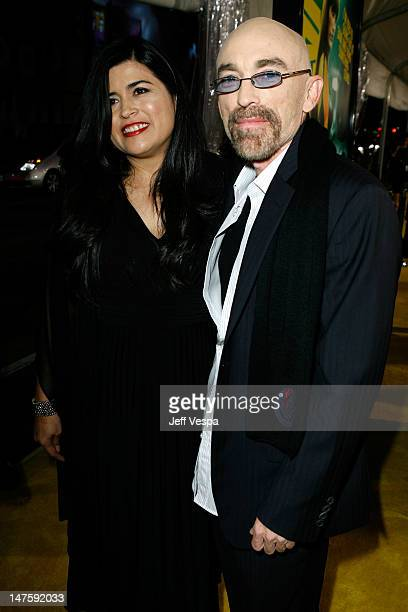 Amelia Cruz and actor Jackie Earle Haley arrive at the premiere of Watchmen held at Grauman's Chinese Theatre on March 2 2009 in Hollywood California