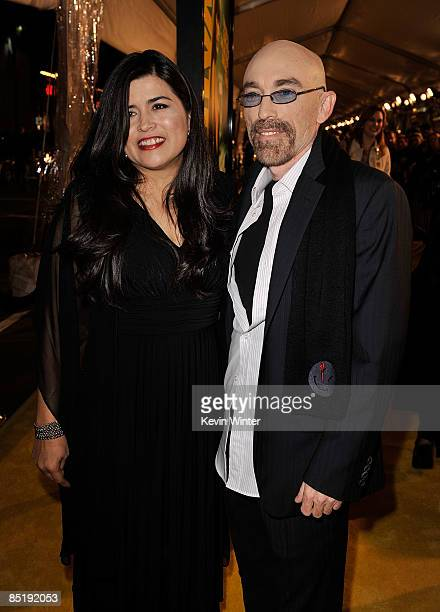 Amelia Cruz and actor Jackie Earle Haley arrive at the premiere of Warner Bros Watchmen held at Grauman's Chinese Theatre on March 2 2009 in...