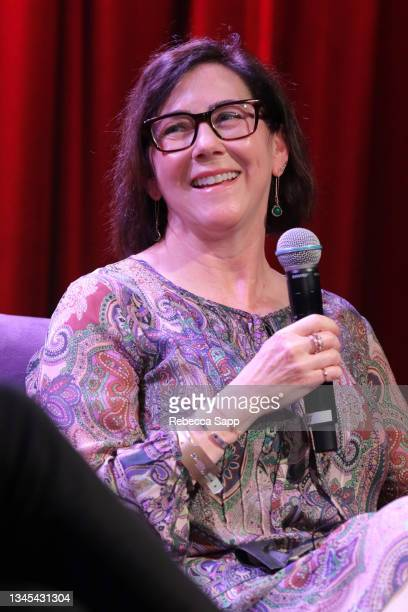 Amelia Davis speaks onstage at Reel to Reel: Show Me The Picture: The Story of Jim Marshall at The GRAMMY Museum on October 07, 2021 in Los Angeles,...
