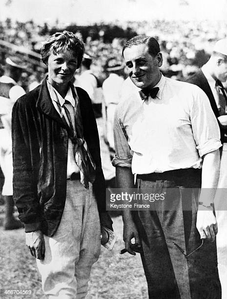 Amelia Earhart American aviation pioneer and first female pilot to fly solo across the Atlantic Ocean with famous French pilot Jean Assollant who...