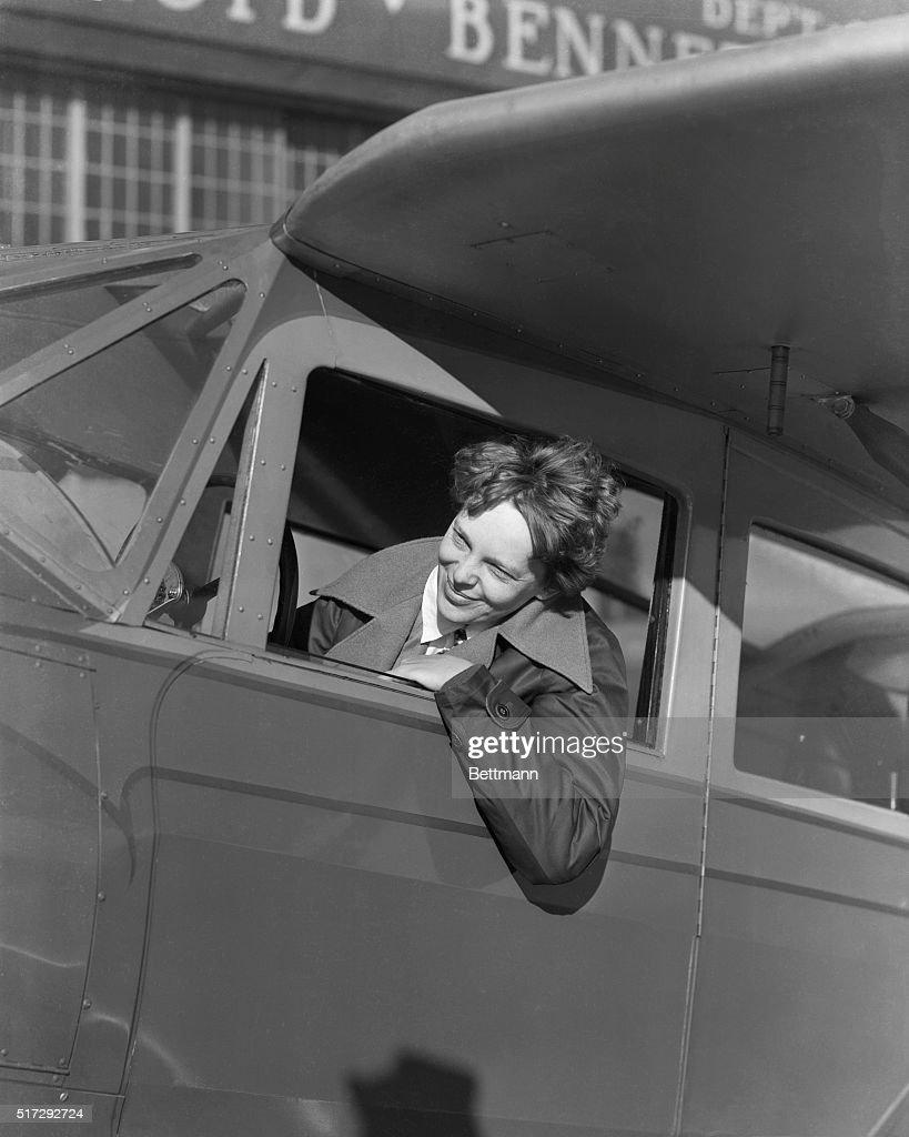 Amelia Earhart In Plane Cockpit : News Photo
