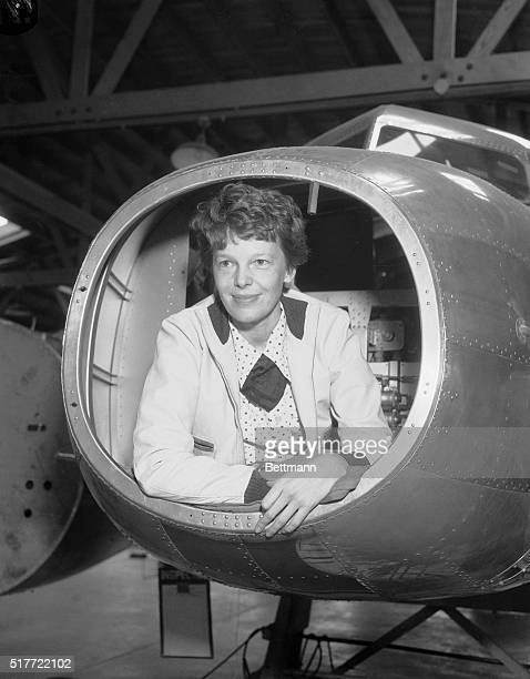 """Amelia Earhart and """"Flying Laboratory."""" The trim, low-wing transport plane purchased by the Amelia Earhart Fund for Aeronautical Research as a..."""