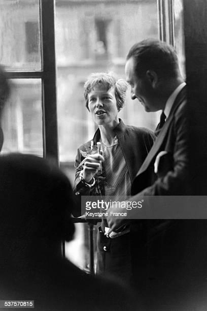 Amelia Earhart and her husband Geogre P Putman in June 1932 in Paris France