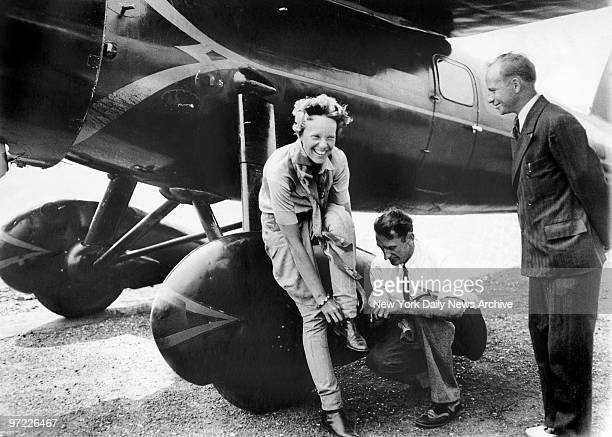 Amelia Earhart arrives fatigued and thirsty at Newark Airport after becoming the first woman to fly nonstop across the continent as well as setting...