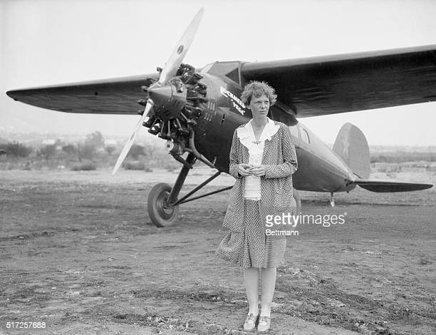 Amelia Earhart at Long Beach Ca with her plane Undated b/w photo