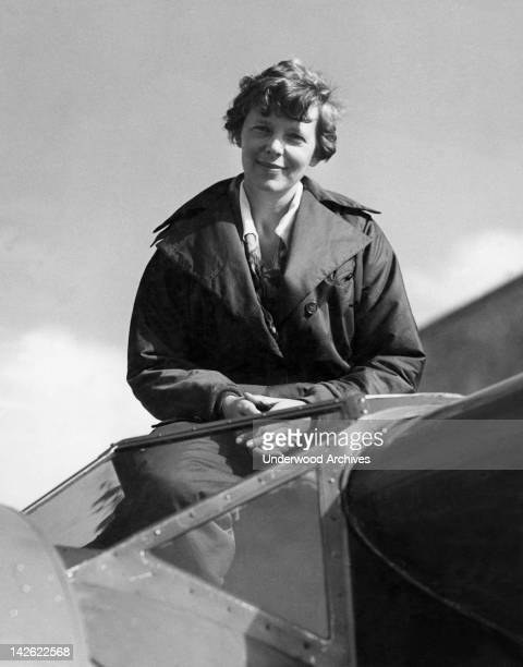 Amelia Earhart in the cockpit of her Lockheed Electra airplane 1930s