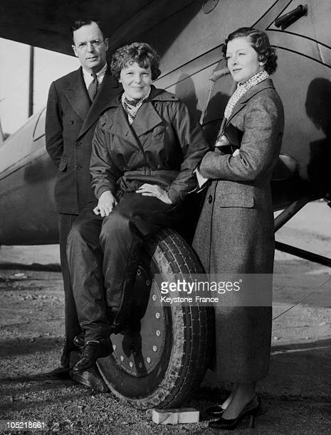 Amelia Earhart Pilot And Her Husband Palmer Putman And Myrna Loy At Los Angeles Airport In 1934