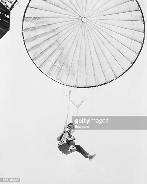 Amelia Earhart Tests Captive Parachute At Prospertown NJ Amelia Earhart helped test a commercial parachute training device that appeared to have few...