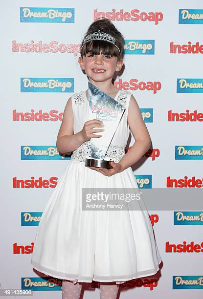 Amelia Flanagan with her award at the Inside Soap Awards at DSKTRT on October 5 2015 in London England