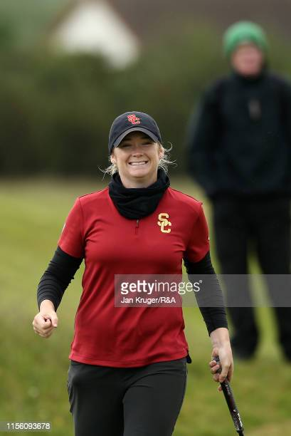 Amelia Garvey of New Zealand celebrates her win during the morning semi final matchplay on day five of the RA Womens Amateur Championship at Royal...