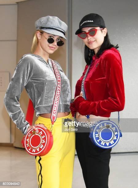 Amelia Gray Hamlin and Delilah Belle Hamlin are seen upon arrival at Narita International Airport on July 25 2017 in Narita Japan
