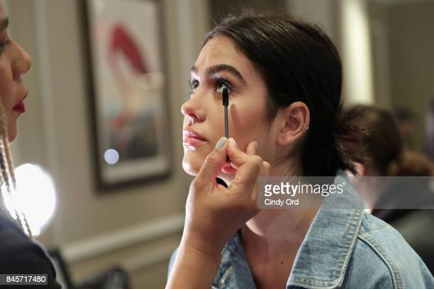 Amelia Gray Hamlin prepares backstage for Dennis Basso fashion show during New York Fashion Week The Shows at The Plaza Hotel on September 11 2017 in...