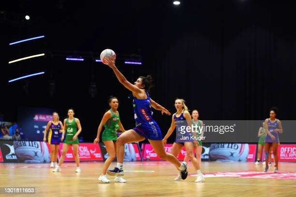 Amelia Hall of Leeds Rhinos jumps for the ball during the Vitality Netball Superleague round 1 match between Celtic Dragons and Leeds Rhinos at...