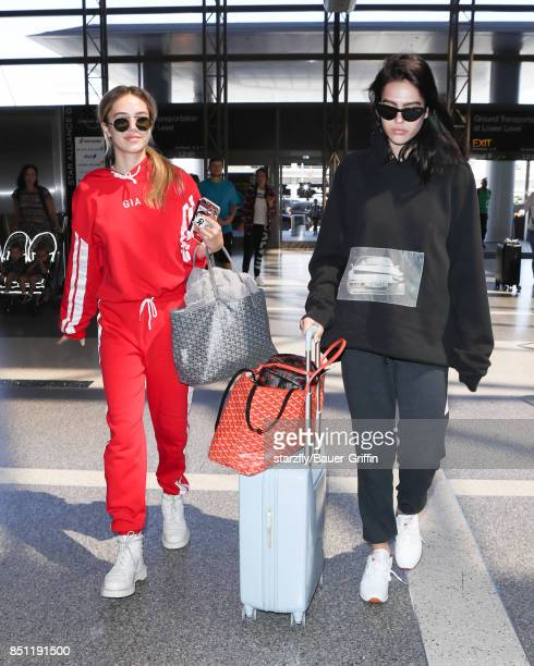Amelia Hamlin and Delilah Hamlin are seen at LAX on September 21 2017 in Los Angeles California