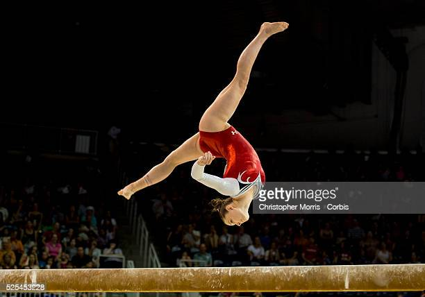 Amelia Hundley of the USA on the balance beam during the women's artistic gymnastics team final and qualifications competition at the 2015 PanAm...