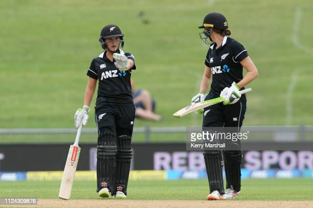 Amelia Kerr and Amy Satterthwaite of New Zealand during game one of the One Day International Series between New Zealand White Ferns and India at...