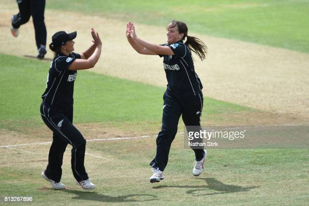 Amelia Kerr celebrates with Suzie Bates of New Zealand during the ICC Women's World Cup 2017 between England and New Zealand at The 3aaa County...