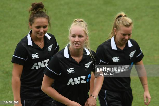 Amelia Kerr Hannah Rowe and Leigh Kasperek of New Zealand before game one of the One Day International Series between New Zealand White Ferns and...