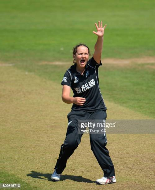 Amelia Kerr of New Zealand appeals during the ICC Women's World Cup 2017 match between New Zealand and the West Indies at The Cooper Associates...